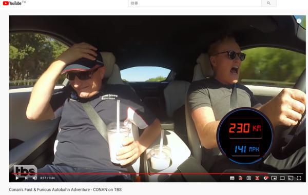 連BMW教練都嚇歪的試駕之旅 美國脫口秀主持人開i8挑戰德國無限速公路(圖/截圖自Team Coco Youtube)