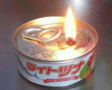 停電救難知識!鮪魚罐頭當蠟燭燒
