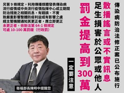 武漢肺炎散播謠言罰金300萬!