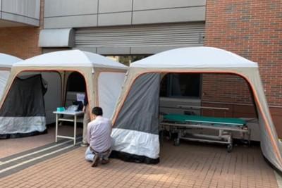 台灣醫院防疫備戰 急診外搭帳篷