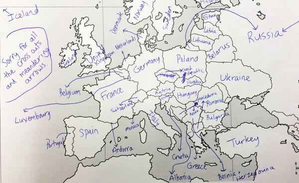 欧洲地图填空,你能写出多少国名? | 键盘大柠檬
