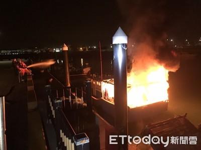 竹圍漁港膠筏起火 海巡消防速搶救