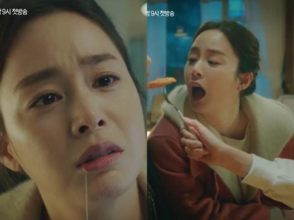 ▲金泰希沒形象狂流口水!等5年演「從沒抱過小孩的媽」預告有爆哭節奏。(圖/翻攝自tvN)