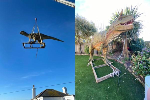 網購沒看清楚就下單 他收到「6公尺巨型恐龍」超錯愕...家變侏儸紀公園