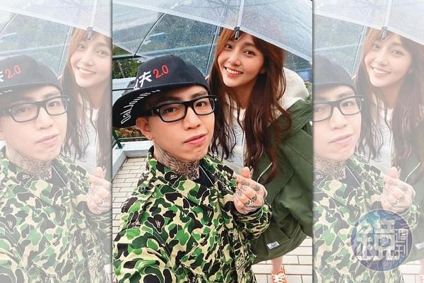 莉婭(右)即將推出新單曲〈小星星〉,謝和弦(左)不但是詞曲創作者,也在MV中擔任男主角,他還對著鏡頭比出愛心手勢。(讀者提供)