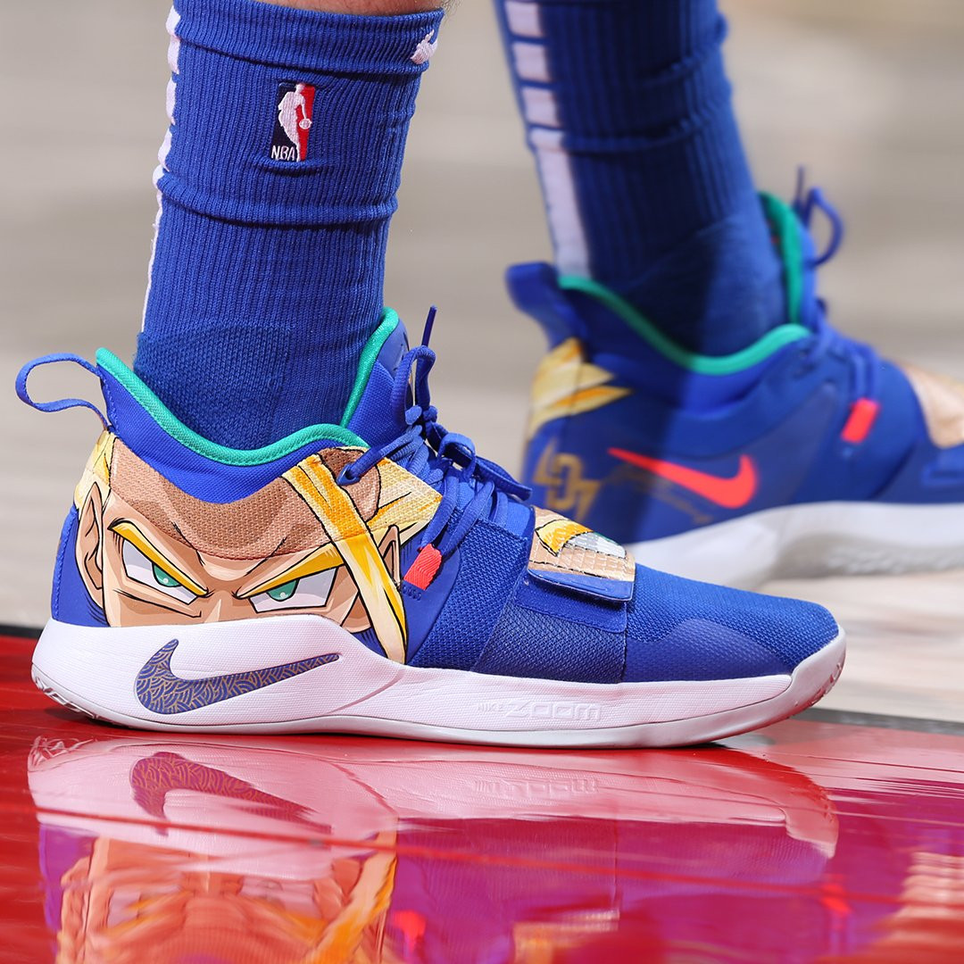 ▲歐陸金童Luka Doncic穿著七龍珠球鞋。(圖/翻攝自Twitter/@SLAMkicks。)