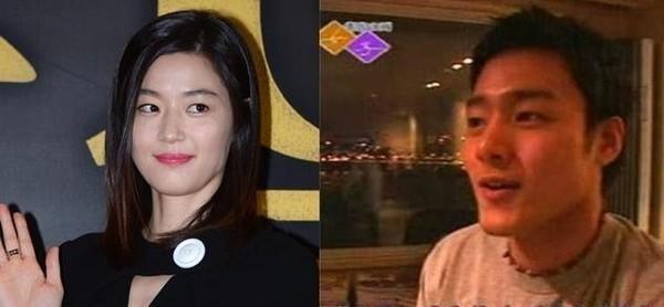 全智賢(左)的富豪老公崔俊赫(右)近日接任金融資產管理公司的CEO,也讓她多了個「總裁夫人」新身分。(翻攝自朝鮮日報)