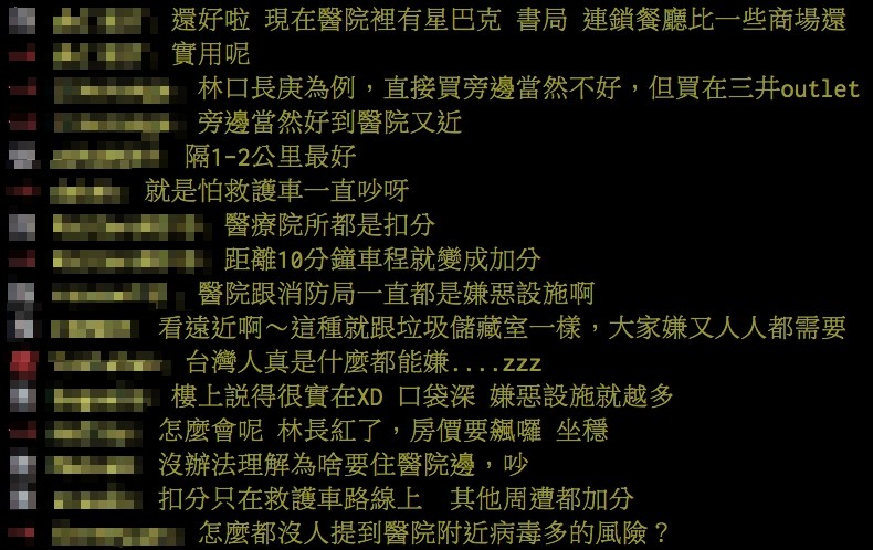 ▲▼  怕染新冠肺炎「醫院成禁區」嫌惡設施?網曝:離10分鐘最加分(圖/翻攝PTT)