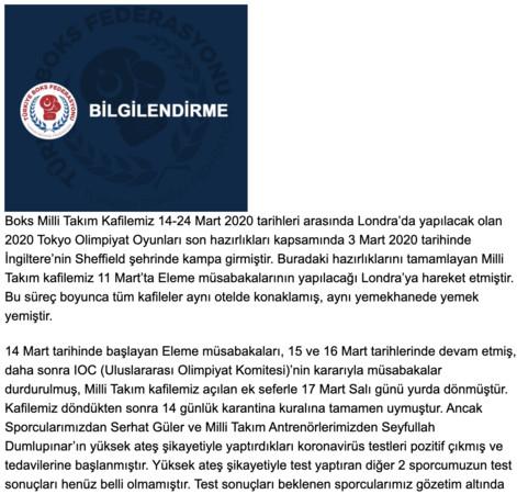 奧運資格賽中途喊卡仍感染 土耳其拳手確診新冠肺炎