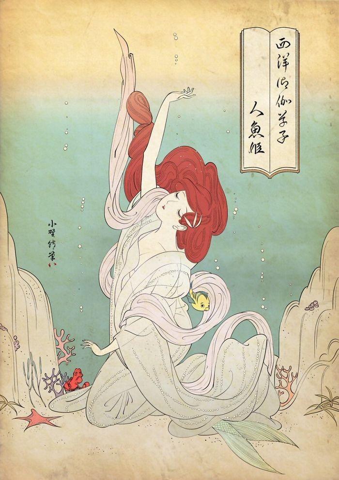 ▲▼一名藝術家以日本獨有的「浮世繪」風格描繪迪士尼公主(圖/翻攝自Twitter/@ono800)