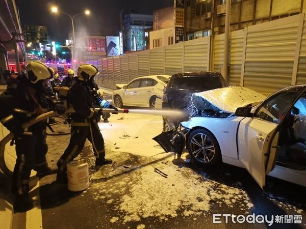 快訊/台中BMW男酒駕「連撞5車」 2車猛烈燃燒1死6傷