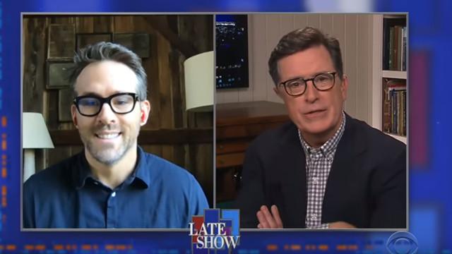 ▲▼▲▼萊恩於夜間秀暢談「居家隔離生活」。(圖/翻攝自YouTube/The Late Show with Stephen Colbert)