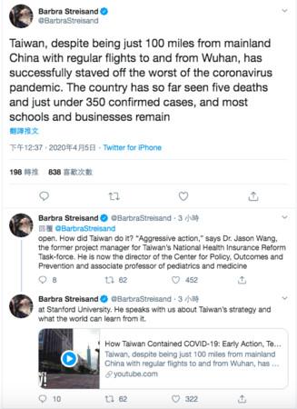 天后芭芭拉史翠珊大讚台灣防疫! 推特稱「這個國家」:成功避免新冠病毒流行
