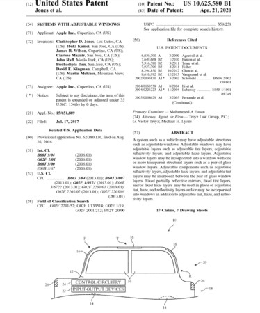 ▲苹果申请Systems with adjustable windows。(图/翻摄美国专利商标局)