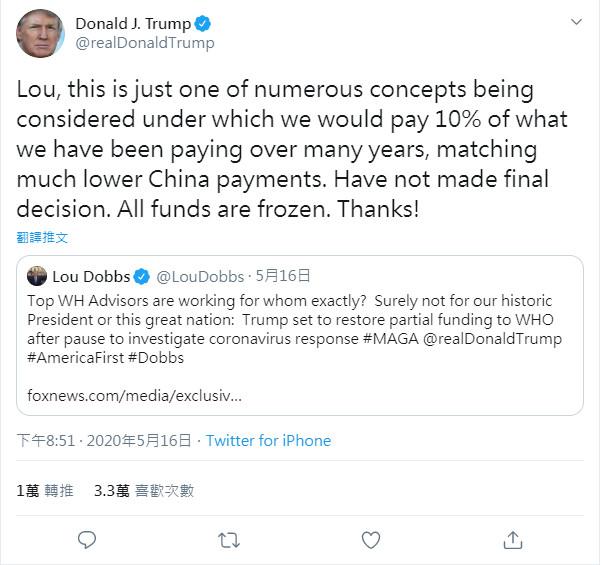 ▲▼美總統川普16日推特證實,考慮恢復對WHO援金的10%。(圖/翻攝自川普推特)