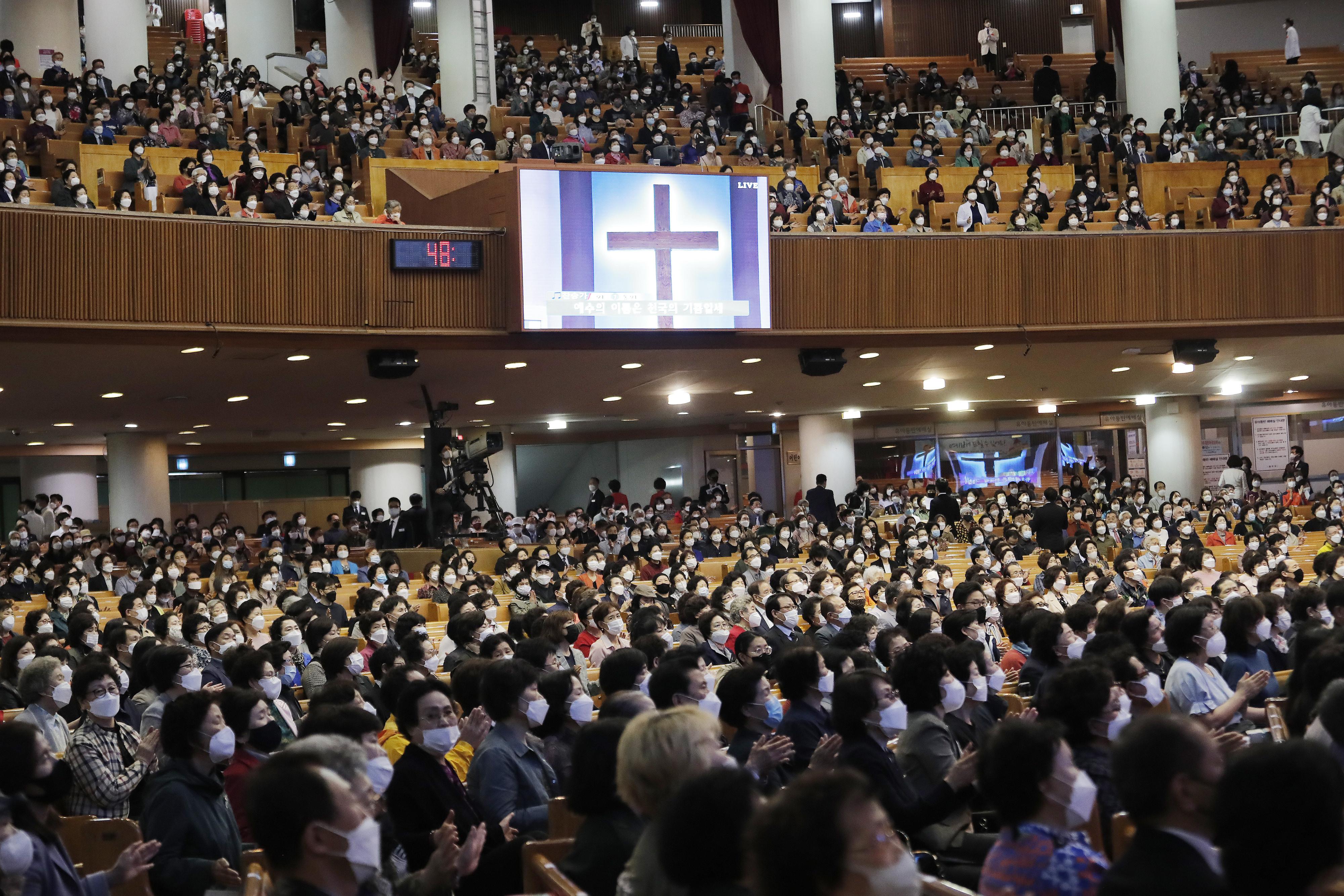 ▲▼號稱擁有56萬信徒的首爾汝矣島純福音教會,5月10日曾舉行大規模禮拜。(圖/達志影像/美聯社)