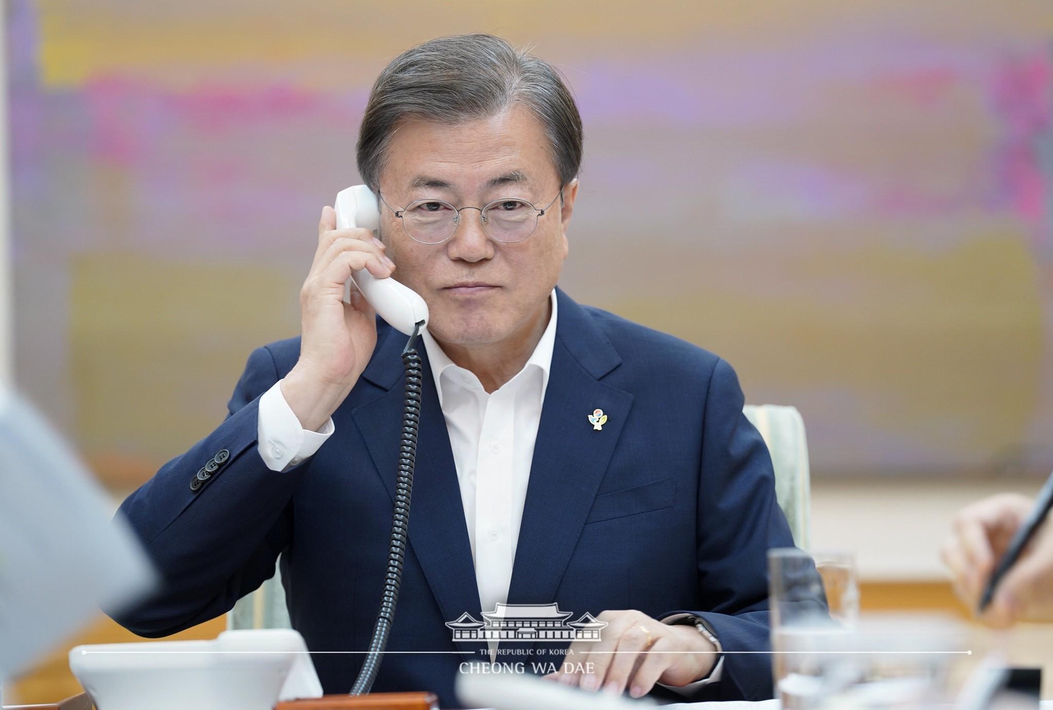 ▲▼南韓總統文在寅1日晚間和川普熱線15分鐘。(圖/青瓦臺)