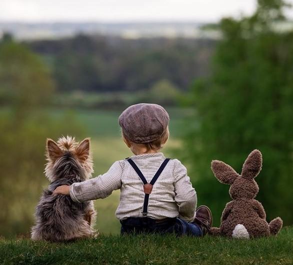▲▼英父母帶孩子愛犬拍寫真。(圖/翻攝自Instagram/littlechapandpup)