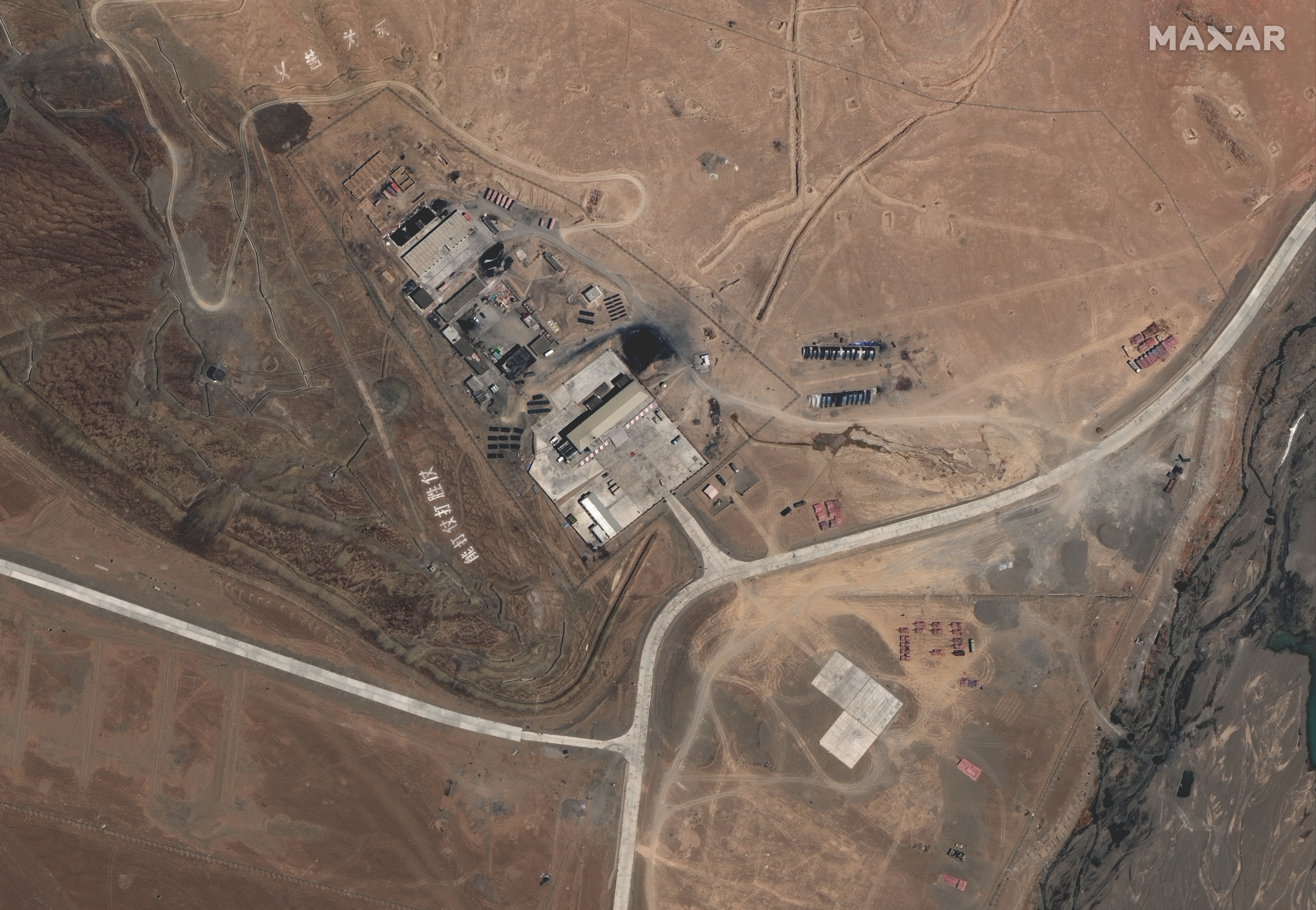 ▲▼衛星相片顯示中國解放軍於空喀山口的軍事基地。(圖/路透社)