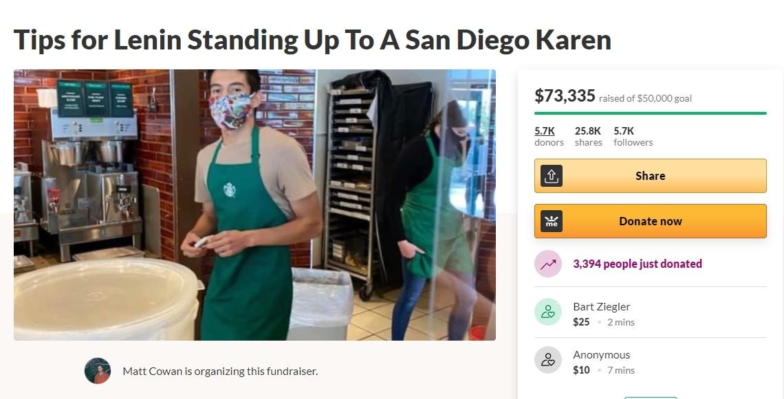 ▲▼美國一位女子沒戴口罩被店員拒絕服務,想客訴不成反替店員募款。(圖/翻攝自GoFundMe官網)