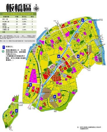 ▲▼板橋區前5名房市交易熱門路段。(圖/新北市地政局提供)