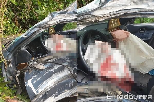 一家三口撞民宅車炸扁!「安全氣囊濺血」…父座位上斷氣