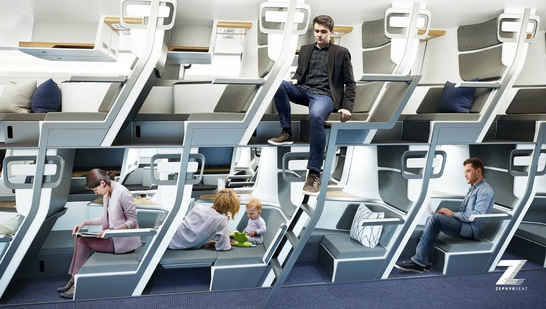 ▲▼美新創公司設計夢幻「上下鋪座艙」。(圖/翻攝自Zephyr Aerospace)
