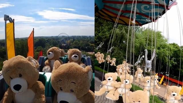 ▲▼疫情閉園期間,荷蘭遊樂園讓熊娃娃們遊玩遊樂設施。(圖/翻攝自Facebook/Walibi Holland)