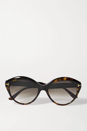 TOM FORD 玳瑁圆框太阳眼镜