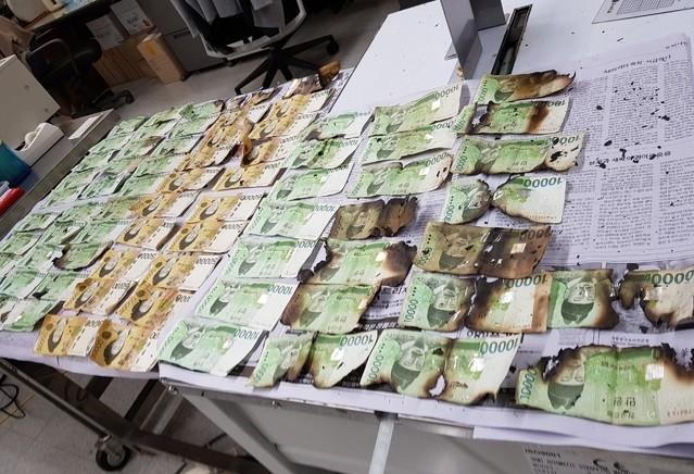 ▲▼韓國銀行統計,今年上半季毀損的紙鈔達3.4億張。(圖/翻攝自韓國銀行)