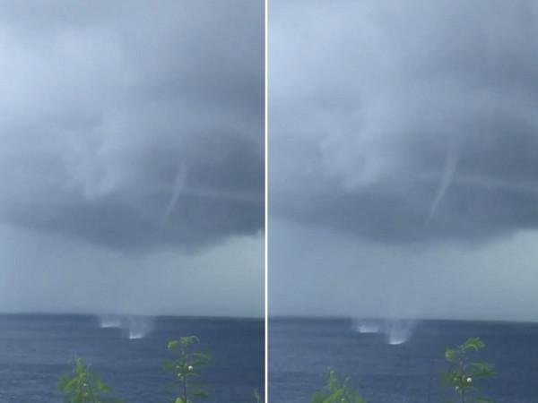影/天空大片雲層現十字疤痕!小琉球「水龍捲」激起2團白水花 | ETto