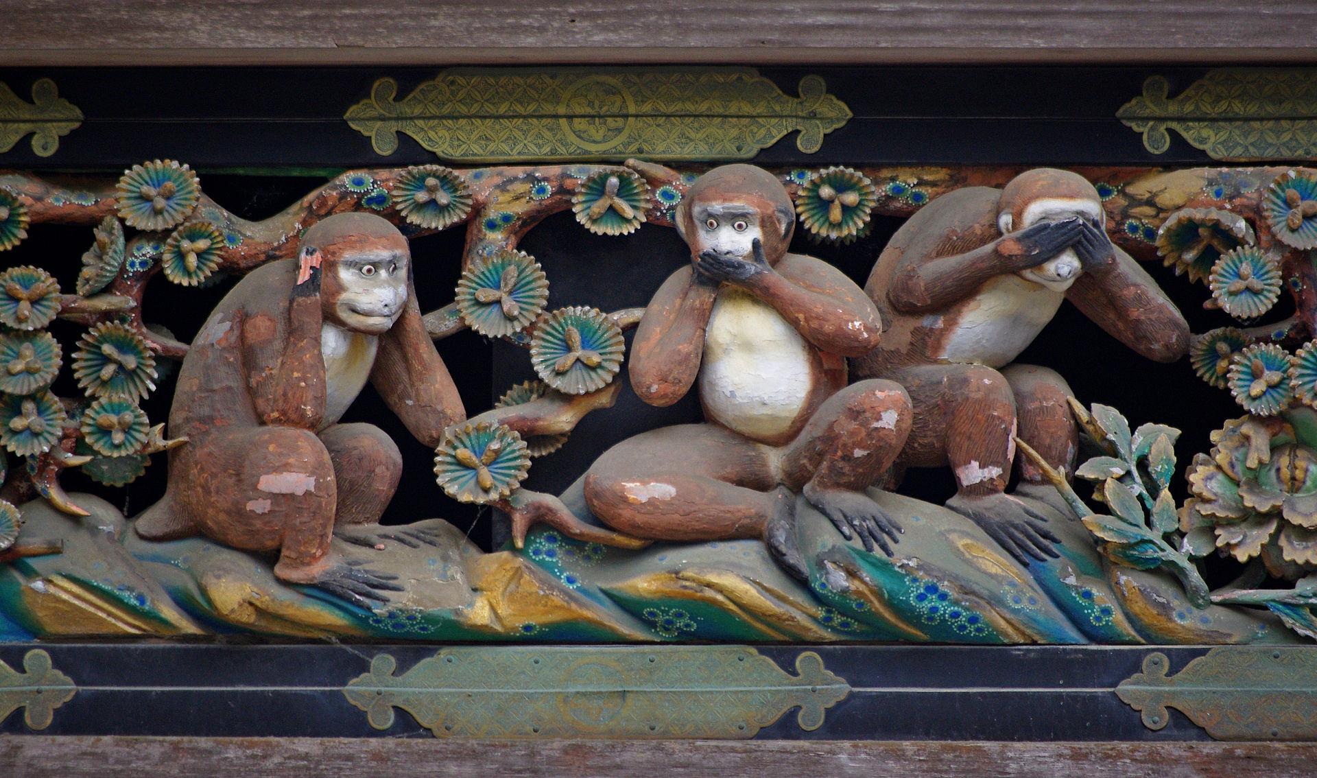 ▲▼日本日光東照宮神廐舍上的「三猿」雕像。(圖/翻攝自Kiwi)