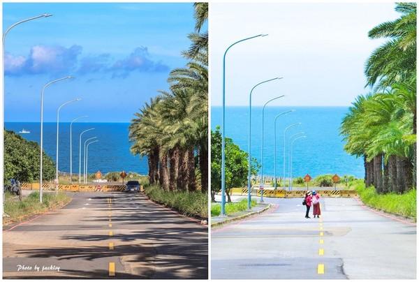 通往海中的筆直道路!淡水「藍海大道」如置身異國度假