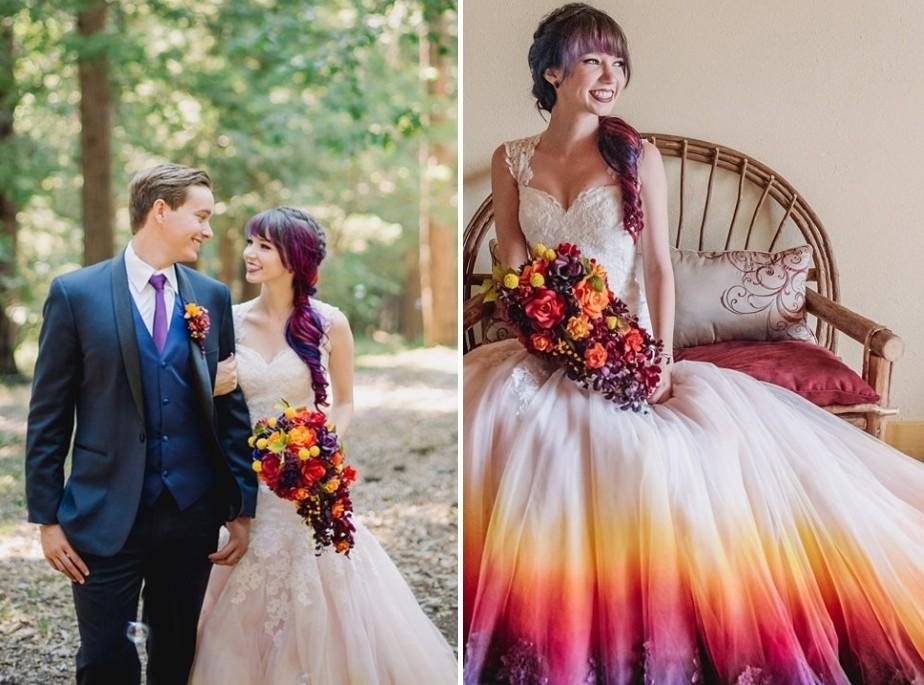 ▲▼美國一名女子為自己打造「繽紛婚紗」,廣受好評。(圖/翻攝自Canvas Bridal網站)