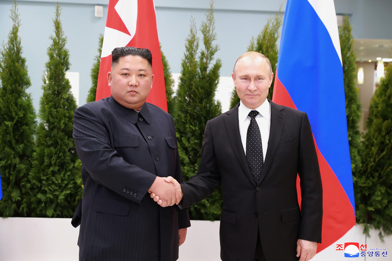 ▲▼金正恩光復節(15日)致函給普丁,提起去年朝俄會談。(圖/達志影像/美聯社)