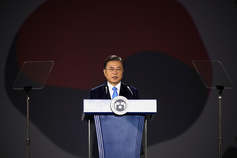 ▲▼南韓總統文在寅出席光復節75周年典禮,發表談話。(圖/路透社)