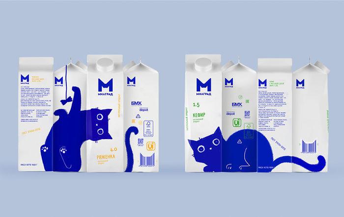 ▲▼俄羅斯乳製品品牌設計出「連貫藍色貓咪」包裝,讓人一次想包四罐。(圖/翻攝自Behance/Vera Zvereva)