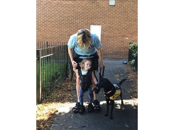 3歲身障女童健走42公里募款 輔助帶掛母身上…2人1狗走一個月