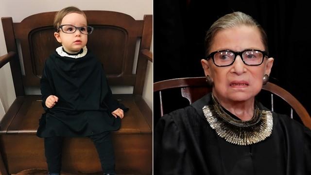 ▲▼美最高法院大法官病逝,民眾po出小孩cosplay照緬懷。(圖/翻攝自Twitter/dinahaddie,路透)