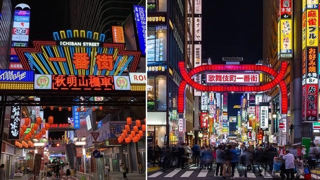 ▲▼中國山寨東京「一番街」,引起話題。(圖/翻攝自Twitter/@antant1018, Wiki/歌舞伎町)