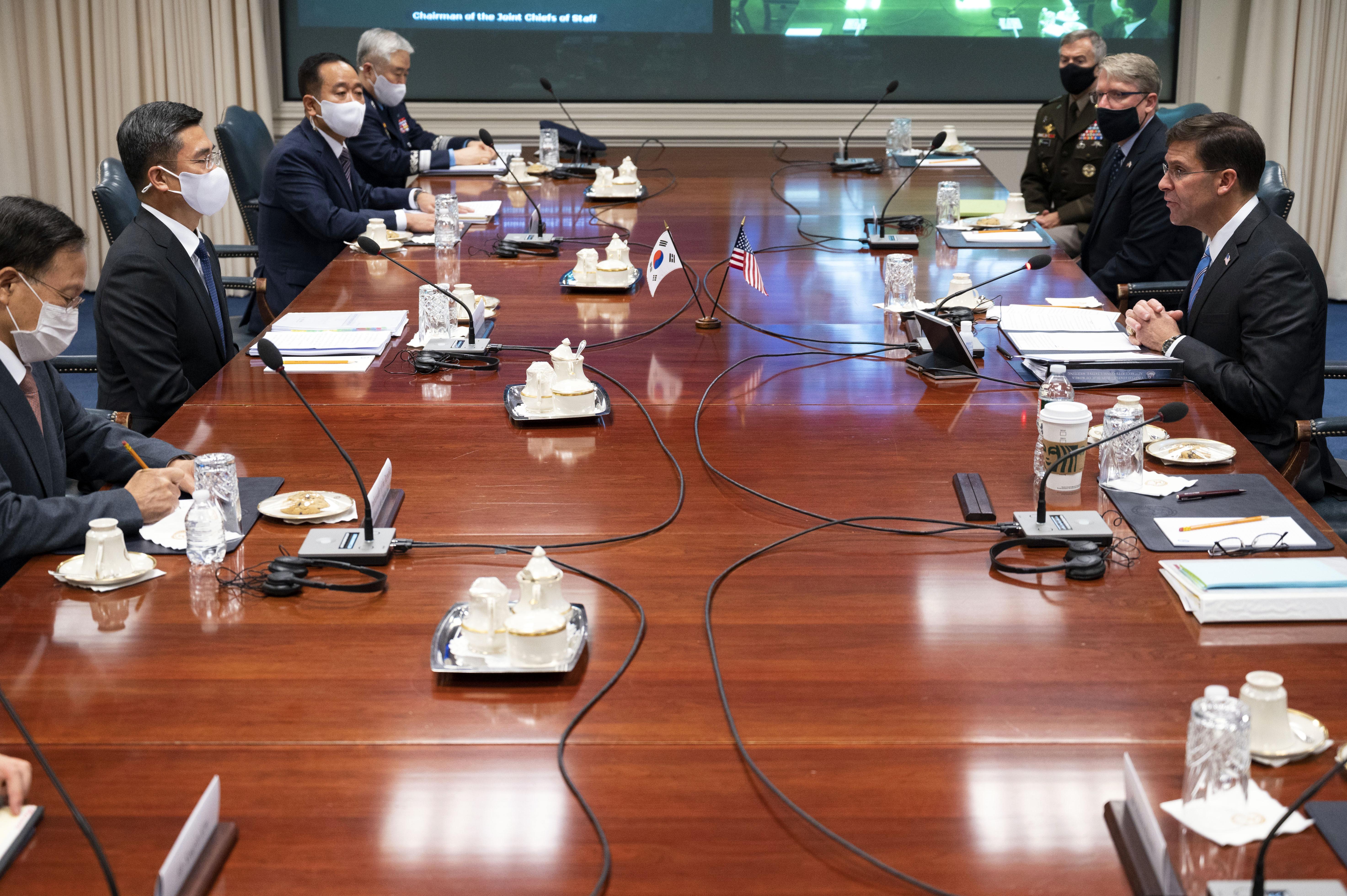 ▲▼美韓兩國國防長在華府五角大廈召開SCM會議。(圖/達志影像/美聯社)
