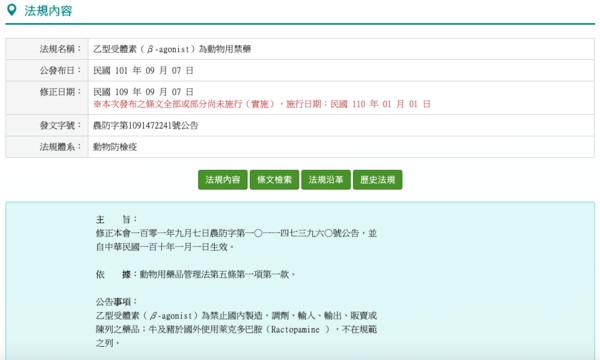 農委會官網列「瘦肉精」為禁藥 立委質疑美豬行政命令無效