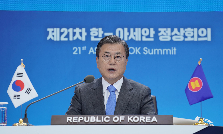 ▲▼南韓總統文在寅在青瓦台出席東協領導人視訊會議。(圖/達志影像)