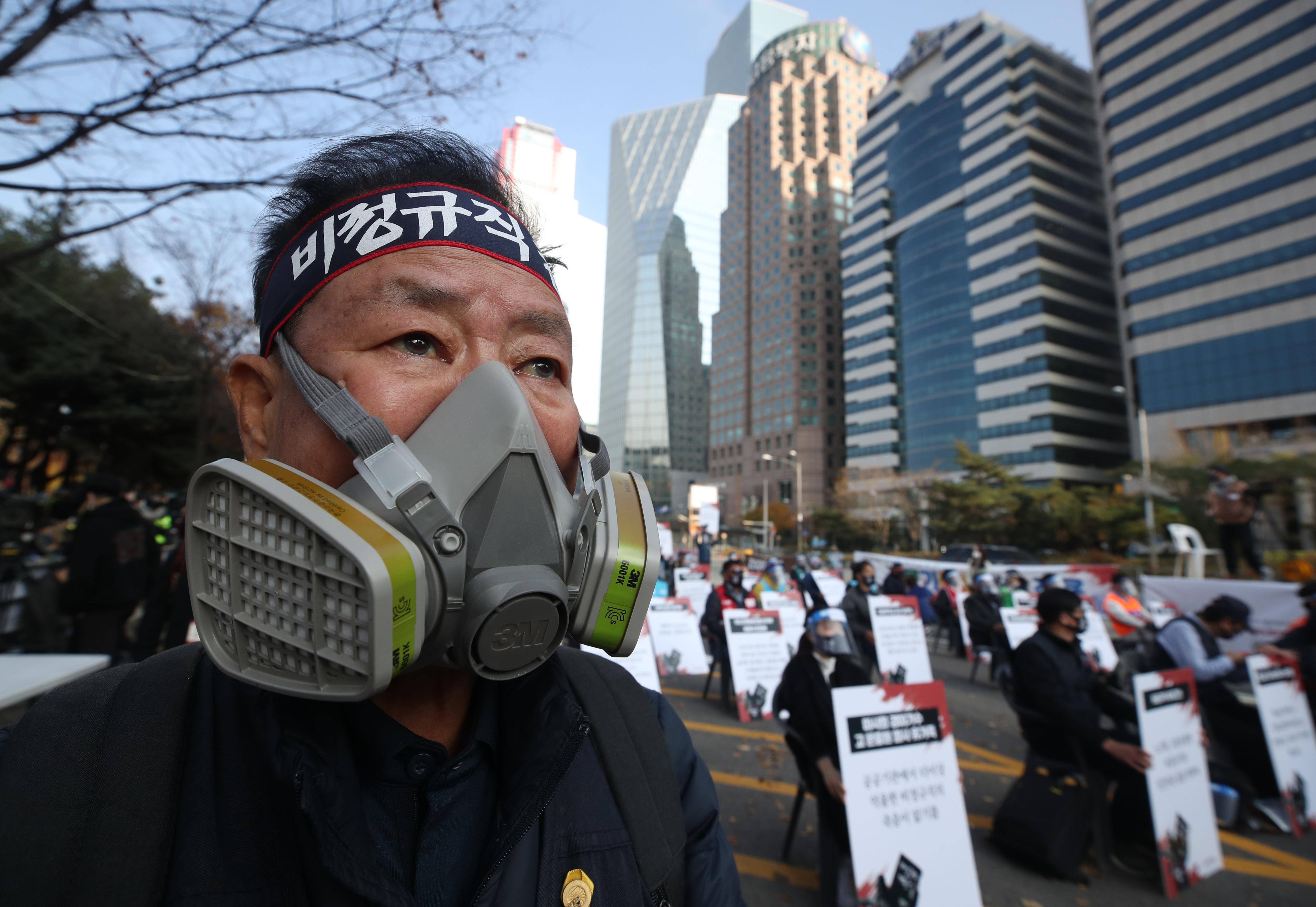 ▲▼南韓各大工會發起集會運動,紀念勞權鬥士全泰壹自焚50周年。(圖/達志影像)