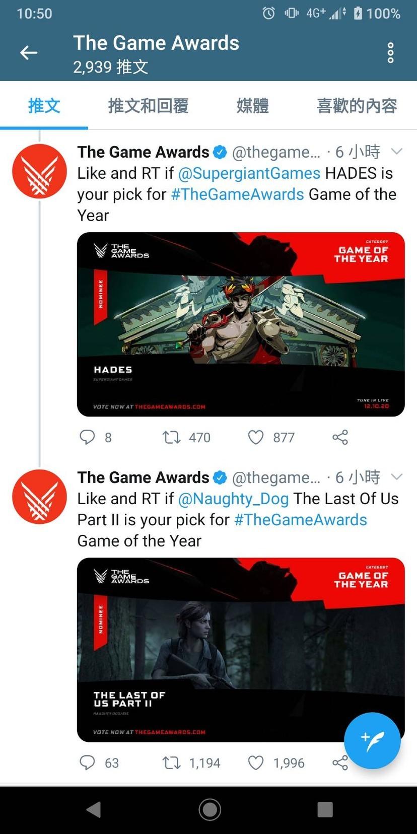 2020年度最佳遊戲獎落誰家 TGA投票「最後生還者2」暫領先鄉民崩潰
