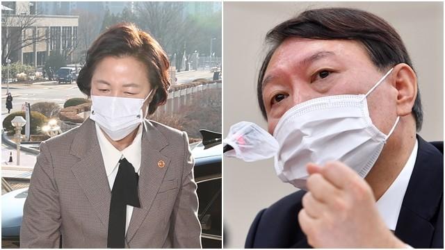 ▲▼南韓法務部長秋美愛(左)宣布勒令檢察總長尹錫悅(右)停職。(圖/達志影像)