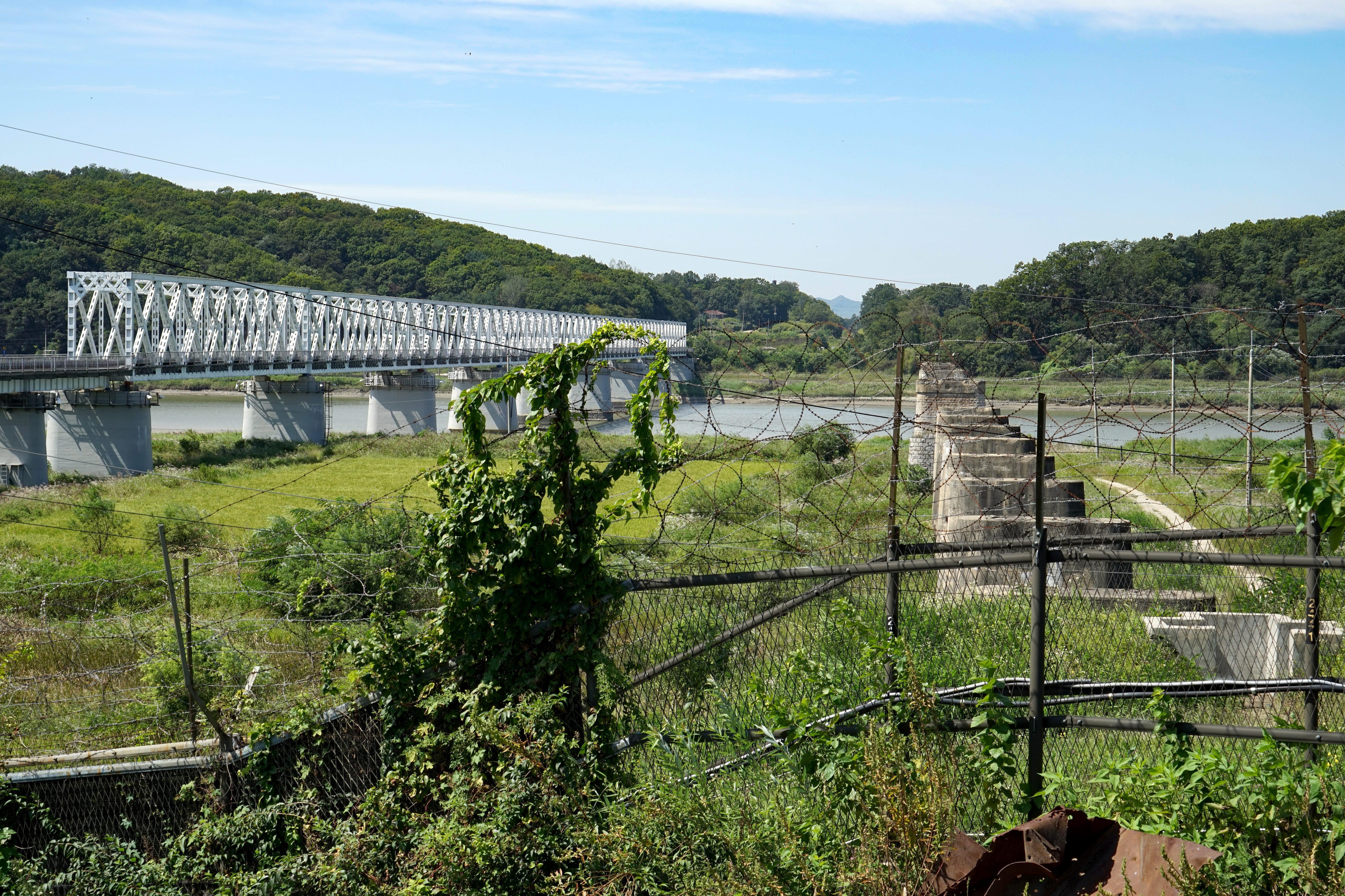 ▲▼北韓男子跨越兩韓交界的鐵柵欄,14個小時後才被南韓江原道高城郡部隊發現。(圖/達志影像/美聯社)