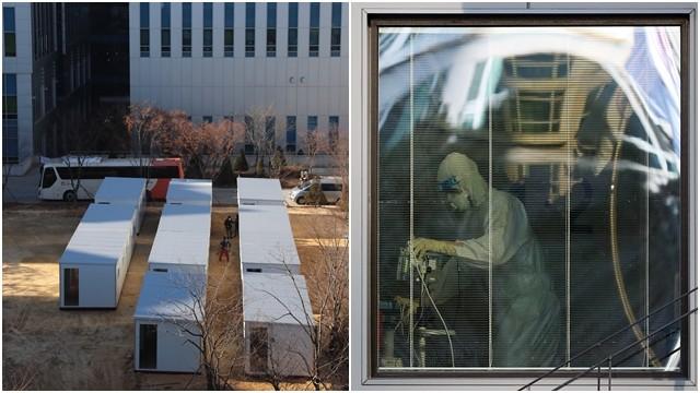 ▲▼南韓近日新冠確診者暴增,當局緊急於首爾醫療院前興建貨櫃型「方艙醫院」。(圖/達志影像)