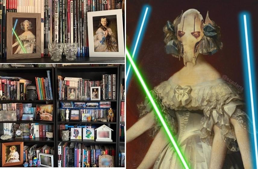 ▲▼澳洲一名男子惡搞妻子的古典畫,全都P上《星際大戰》人物的臉。(圖/翻攝自Reddit/@mandal0re,Instagram/@scadarts)