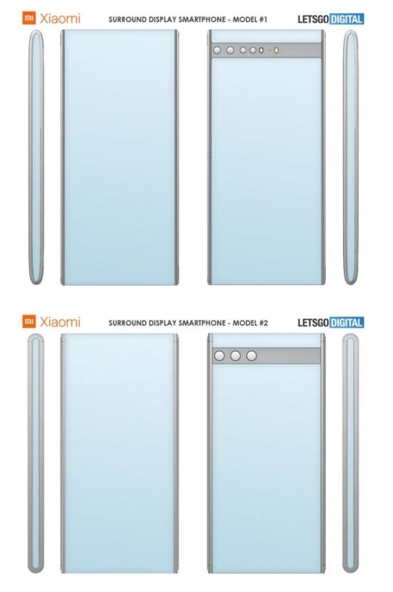 ▲小米新專利有兩種版本,其中一種手機頂部及底部弧度較大,另一種弧度較小。(圖/取自letsgodigital)